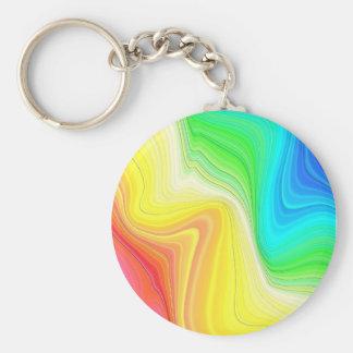 Rainbow Swirl Basic Round Button Key Ring