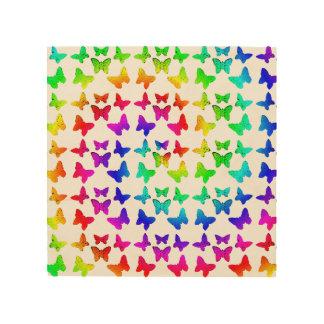 Rainbow Swirl Butterflies Wood Prints