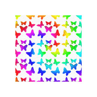 Rainbow Swirl Butterfly Pattern Canvas Print