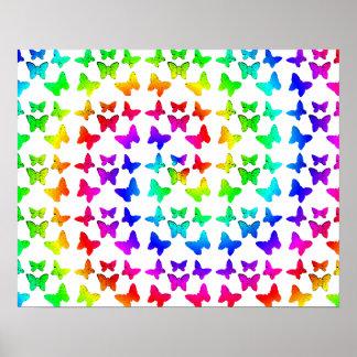 Rainbow Swirl Butterfly Pattern Poster