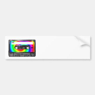 Rainbow Swirl Label Vintage Cassette Bumper Stickers