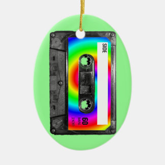 Rainbow Swirl Label Vintage Cassette Ceramic Oval Decoration