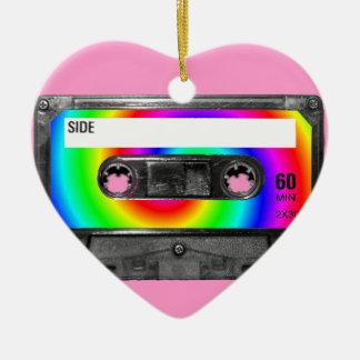 Rainbow Swirl Label Vintage Cassette Ceramic Heart Decoration