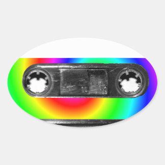 Rainbow Swirl Label Vintage Cassette Oval Sticker