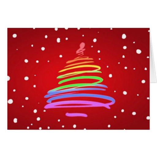 Rainbow Swirl LGBT Christmas Tree Greeting Card | Zazzle