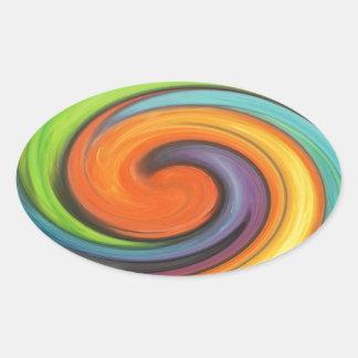 Rainbow Swirl Oval Sticker