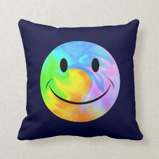 Rainbow Swirl Smiley Face Throw Pillow