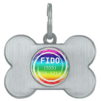 Rainbow Swirling Whirling Chasing Its Tail Circle Pet Name Tag