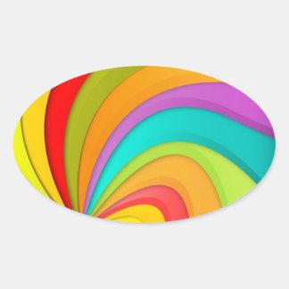 Rainbow Swirls Oval Sticker