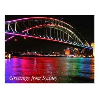 rainbow sydney bridge greetings postcard