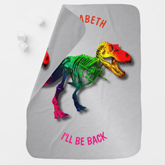 Rainbow T Rex Funny Fossil With Your Name Baby Blanket