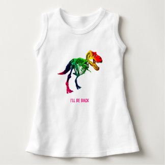 Rainbow T Rex Funny Fossil With Your Name Dress