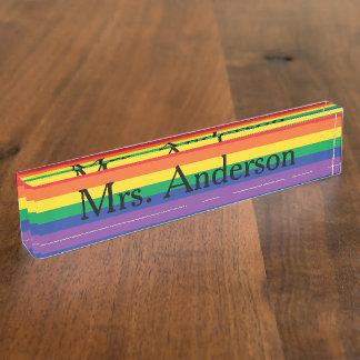 Rainbow Teacher Nameplate for desk
