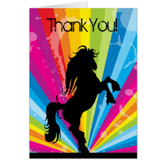Rainbow Techno Silhouette Rearing Horse Thank You Note Card