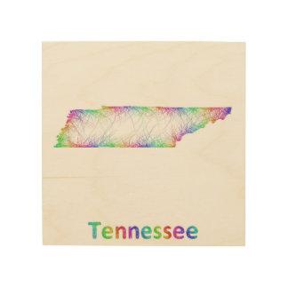 Rainbow Tennessee map Wood Print