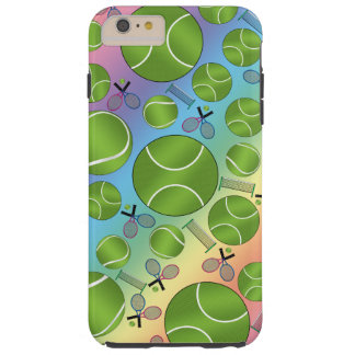 Rainbow tennis balls rackets and nets tough iPhone 6 plus case