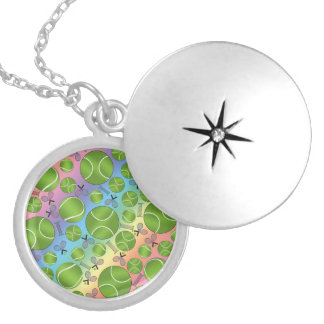 Rainbow tennis balls rackets and nets locket necklace