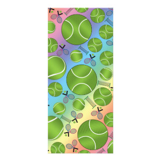 Rainbow tennis balls rackets and nets custom rack card