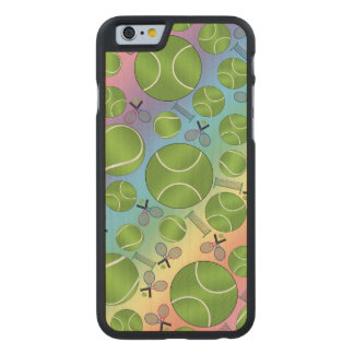 Rainbow tennis balls rackets and nets carved® maple iPhone 6 case