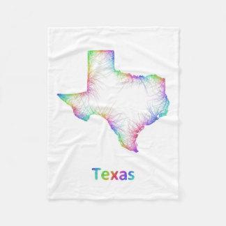 Rainbow Texas map Fleece Blanket