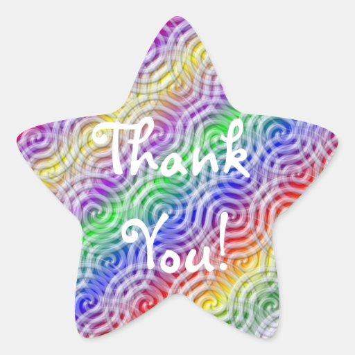 Rainbow Thank You Star Sticker