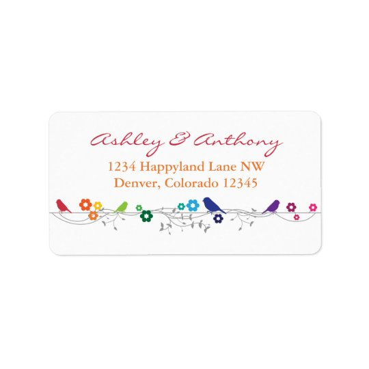 Rainbow Theme Birds Flowers Wedding Return Address Address Label