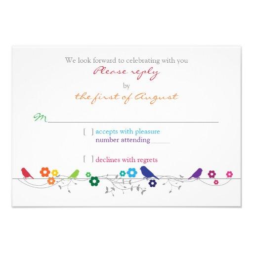 Rainbow Theme Birds Flowers Wedding RSVP Reply Announcement