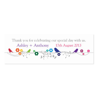 Rainbow Theme Birds Wedding Thank You Favor Tags Pack Of Skinny Business Cards