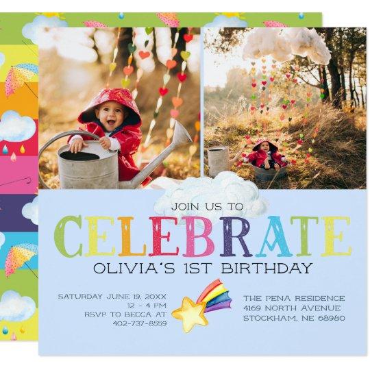 Rainbow Themed Birthday Party Invitation Zazzle Co Uk