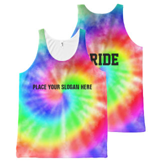Rainbow Tie Dye Pride Slogan All-Over Print Tank Top