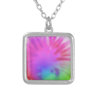 Rainbow tie-dye silver plated necklace