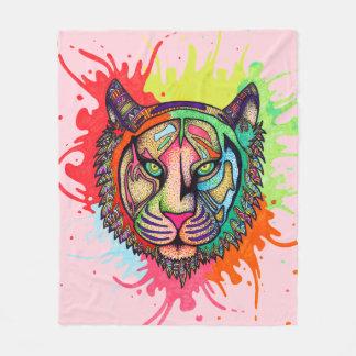 Rainbow Tiger Fleece Blanket