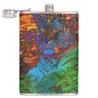 Rainbow Tiger Hip Flask
