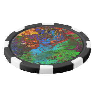 Rainbow Tiger Poker Chips Set