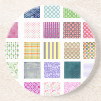 Rainbow tiled squares pattern coaster