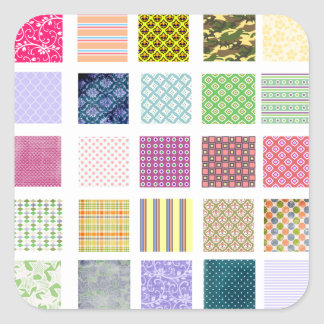 Rainbow tiled squares pattern square sticker