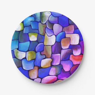 Rainbow tiles paper plate