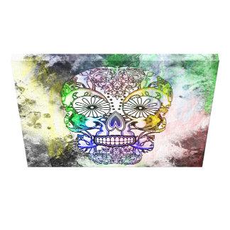 Rainbow Tones Sugar Skull Grunge Design Canvas Print