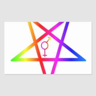 Rainbow Transgender Inverted Pentagram Stickers