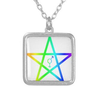 Rainbow Transgender Pentagram #2 Silver Plated Necklace