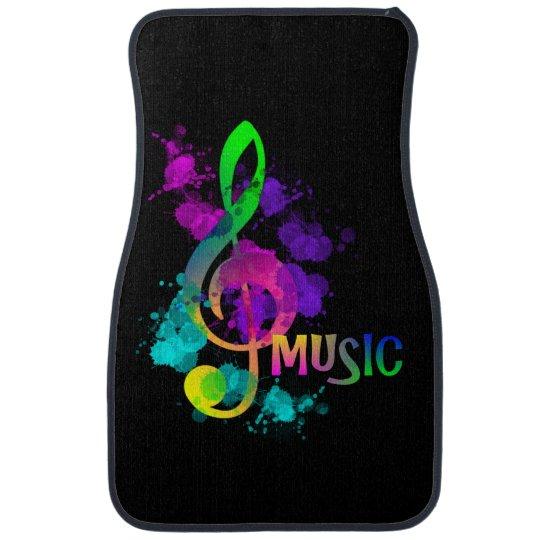 Rainbow Treble Clef Music Themed Car Mat