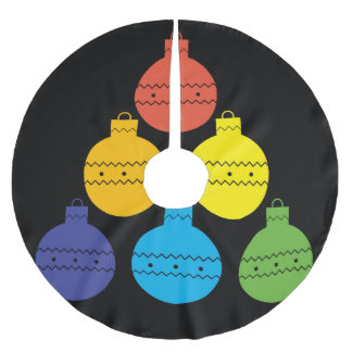 Rainbow Tree of Christmas Balls Tree Skirt