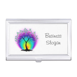 Rainbow Tree of Life Connect with Your Customer Business Card Holder