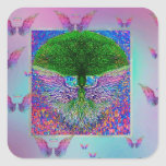 Rainbow Tree of Life with Angel Wings Square Sticker