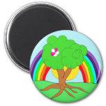 Rainbow tree refrigerator magnet