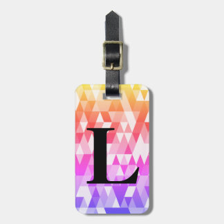 Rainbow Triangle Geometric Pattern with Initial Luggage Tag