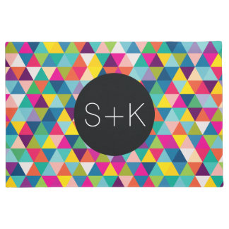 Rainbow Triangle Pattern Custom Monogram Doormat