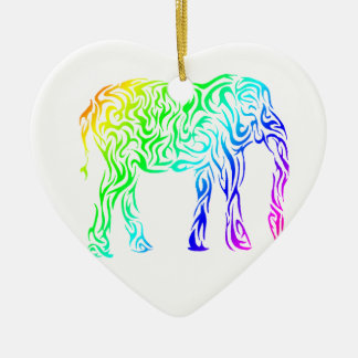 Rainbow Tribal Elephant Christmas Ornament
