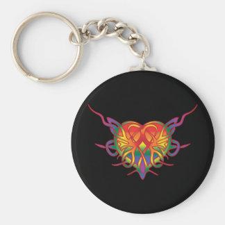 Rainbow Tribal Heart Key Ring