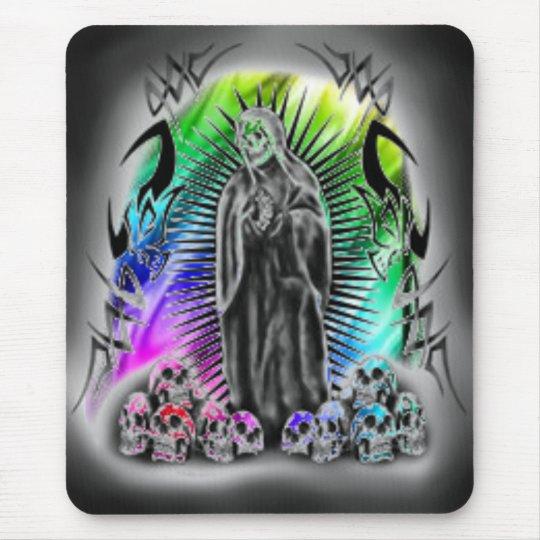 Rainbow Tribal Skull Grim Reaper Mousepad
